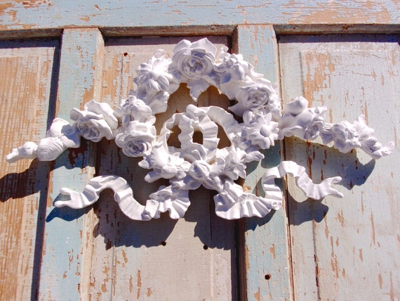 Shabby chic furniture appliques huge rose floral wreath etsy