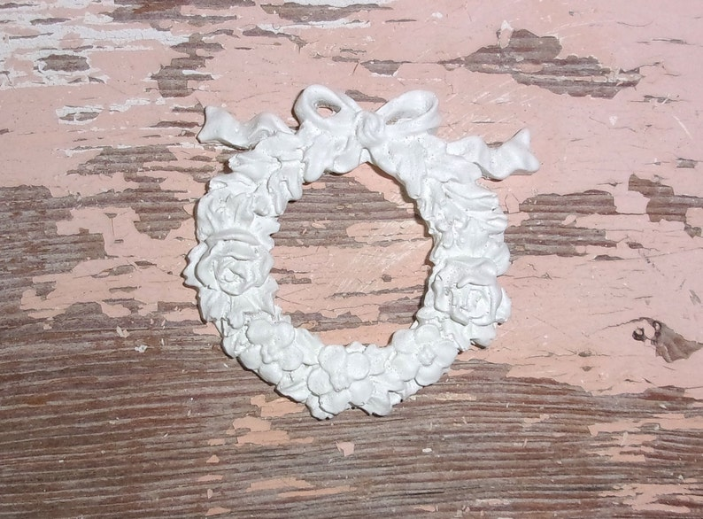 Shabby chic rose wreath ribbon swags furniture appliques
