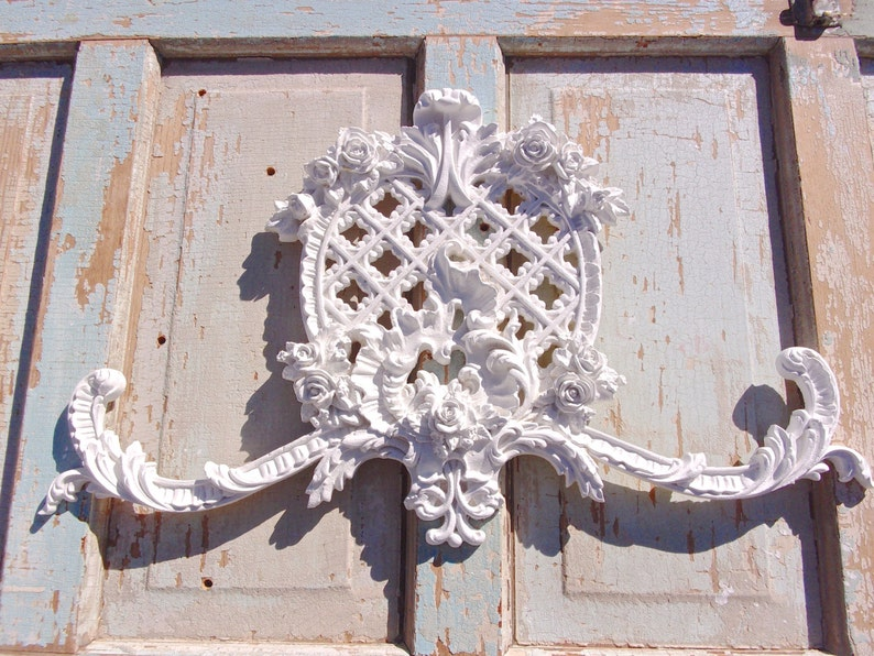 Shabby chic furniture applique huge rose center over etsy