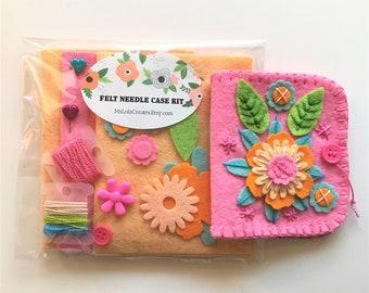 Felt Needle Case Needle Book Sewing Needle Case Orange Felt Needle Case Needle Book Hand Sewing Needle Case