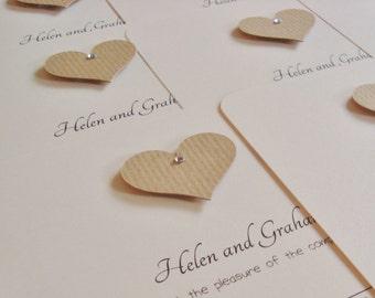 Personalised Handmade Kraft Heart Wedding Invitation Sample