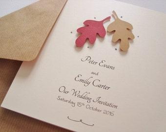 Personalised Luxury Handmade Autumn Leaves Wedding Invitation Sample