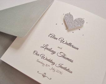 Personalised Luxury Handmade Glitter Heart Wedding Invitation Sample