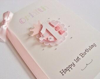Large Luxury Personalised Handmade Princess/Prince Age Birthday Card