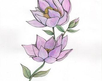 Double Lotus Flowers - ORIGINAL Watercolor painting