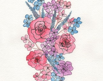 Pink and Blue Flowers - ORIGINAL Watercolor painting