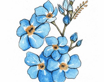 Forget Me Not Flowers - ORIGINAL watercolor painting