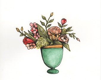Pot of Flowers - ORIGINAL watercolor painting
