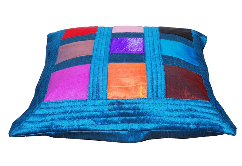 Colorful Throw Pillow Blue Throw Pillow Cover Patchwork Pillow Rainbow Decorative Turquoise Vibrant Summer Home Decor Gift for Her Decor
