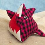 Sharky the shark / SMALL pyramid plushie / pink and black shark / home decor / sea creature / sailor room decor / pirate pet / Crackwood