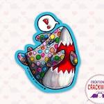 Vinyl sticker polka dots exclamation shark, decoration, agenda, pencil case, skateboard, laptop, bicycle, bottle, water resistant, Crackwood