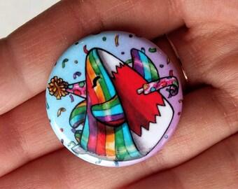 Rainbow festive Shark pin, badge birthday, party gift, colorful, joyful, Sharky, Pascale Lamoureux-Miron, Crackwood
