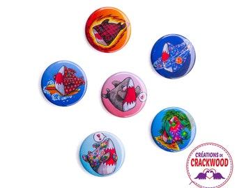 Magnet Shark 1,25'', your choice, decoration, fridge magnet, locker accessories, Pascale Lamoureux-Miron, geek, galaxy, emoji, Crackwood