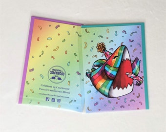 Rainbow festive Shark greeting card, birthday wishes, blank, gift, party, colorful, joyous, collab Pascale Lamoureux-Miron, Crackwood