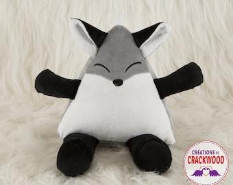 Grey Mr Fox plush, fox plushie, birth gift, room decor, original character by Crackwood's Creations