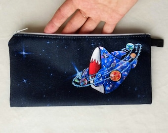Pencil case Galaxy shark, cosmetic bag, traveling pouch, instruments, accessories, toiletry bag, crafting supplies, Crackwood Creations