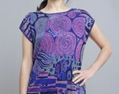 Electric Blue Glitzy Knit Psychedelic hippy chic blouse