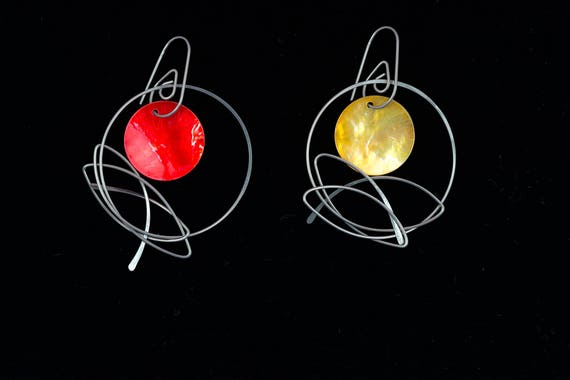Colour Changes, 3 free colours, drop earrings with changeable colours, sterling silver, gold filled, niobium