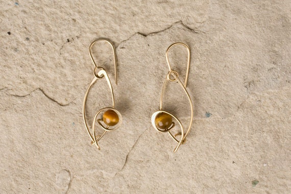 Designer Drop Earrings, gold filled & semi-precious stone, sterling silver,  or anodized niobium, Choice of Metal and beads