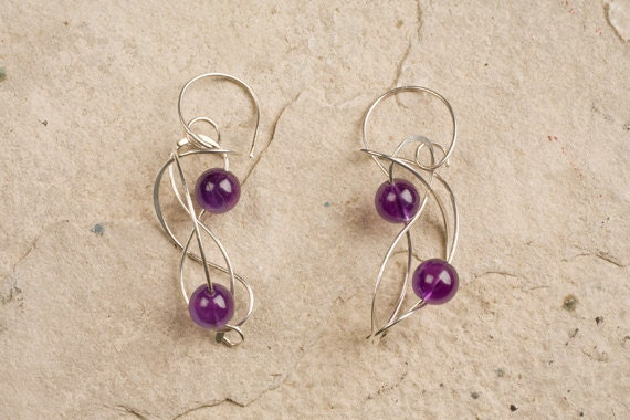 ETERNITY, Wedding Jewelry, Designer Wire Dangly Earrings, Sterling Sivler and Amethyst, Pearls, Lapis, Tigers eye, Necklace