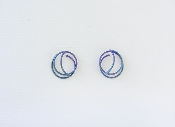 Classic designer post earrings, anodized niobium, sterling silver, gold filled, argentium sterling