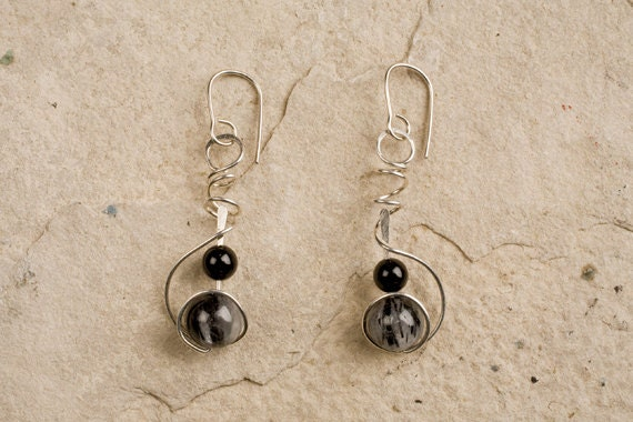 Stone Drop Earrings, CHOOSE your STONES & METAL, Semi-Precious, Sterling, Gold Filled, Allergy safe Niobium