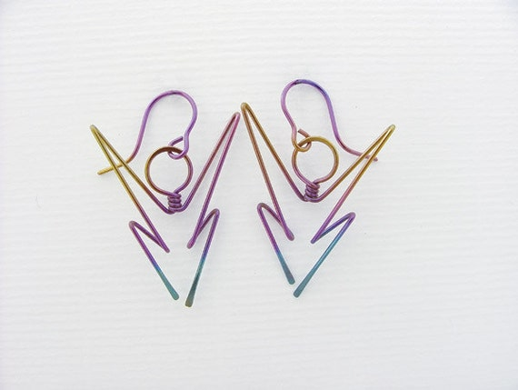 PASSION & STRENGTH  - Allergy Safe anodized Niobium Drop Earrings, original design, gold-filled or argentium sterling