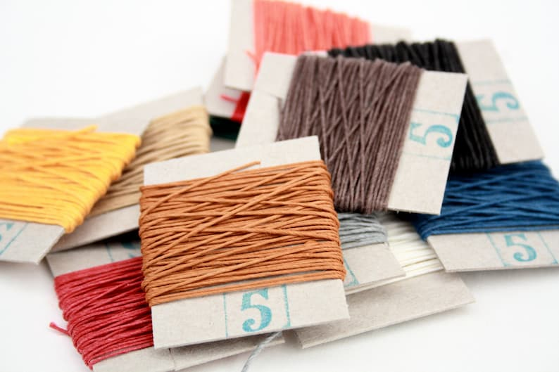 Your choice of two colours Non-Waxed 10m English 4-ply Linen Thread