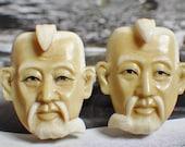 Vintage JAPANESE Jurōjin Gods of Fortune TOSHIKANE Sterling Silver Porcelain Cuff Links Mid Century Asian Jewelry Accessories Cufflinks