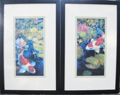 VINTAGE Set of 2 KOI FISH Double Mat Frame Print Pictures Decorator Wall Art Designer Asian Feng Shui Accent Decor Artwork