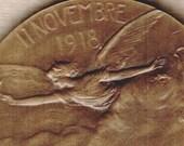 WWI Vintage 1918 FRENCH L.P. Legastelois Bronze ARMISTiCE Commemorative November 11, 1918 Medal Medallion Coin Historic Memorabilia