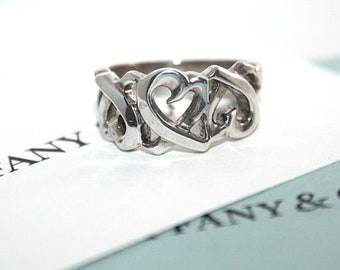 071111974 Vintage TIFFANY & Co Sterling Silver PALOMA PICASSO Loving Heart Openwork  Statement Ring Size 5.25 Couture Designer Fashion Jewelry
