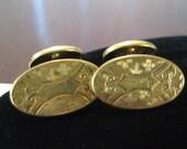 EDWARDIAN Antique 1900s 10k RGP Gold Floral Scroll NOUVEAU Diamond Hand Engraved Signet Swivel Back Cufflinks Victorian Downton Cuff Links