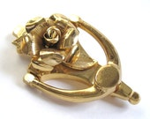 EDWARDIAN Revival Vintage 1950s CORO Pegasus Gold Rose DOORKNOCKER Articulated Move-able Brooch Pin Nouveau Downton Abbey Victorian Gothic