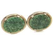 MID CENTURY Vintage 1960s Spinach Green JADE Gold Plate Brass Swivel Cufflinks Cuff Links Deco Edwardian Downton Revival Fashion Jewelry
