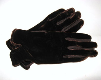 9199ca603e DECO Vintage 1930s Cocoa Brown Velvet Rayon Knit Rolled Vented Flare Cuff  9