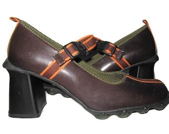 3cf7e57a6a7 MOD Brown Leather Mary Jane Chunky Heel Shoes Orange Brown Ribbon Strap  Green Gel Rubber Soles Boho Vintage PRADA Miu Miu   Euro Retro