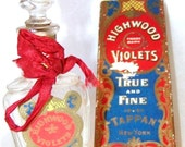 VICTORIAN Antique 1800s Tappan Highwood Violets New York CRYSTAL Glass Perfume Bottle Silk Ribbon Presentation Box Belle Epoch Gilded Age