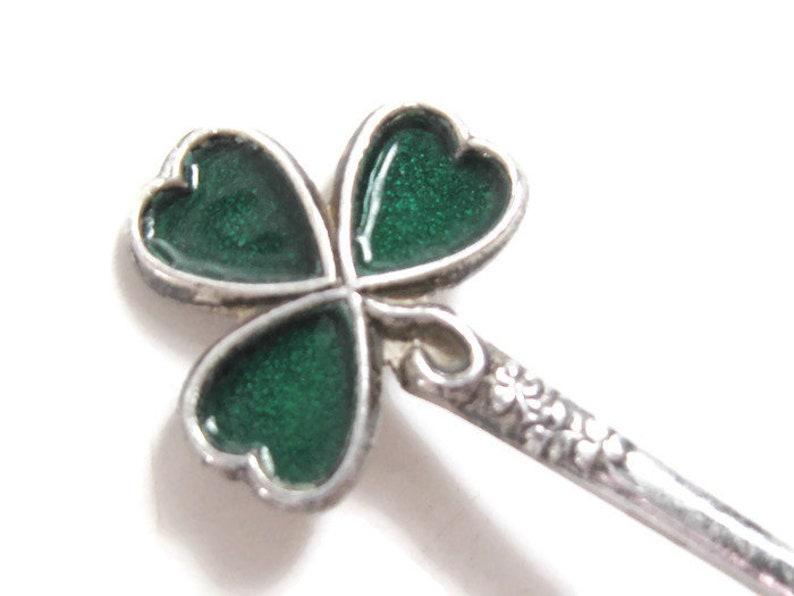 EDWARDIAN Antique 1932 Sterling Silver SHAMROCK CLOVER Emerald Green Enamel Spoon British Birmingham U K Edwardian Nouveau St Patrick/'s Day
