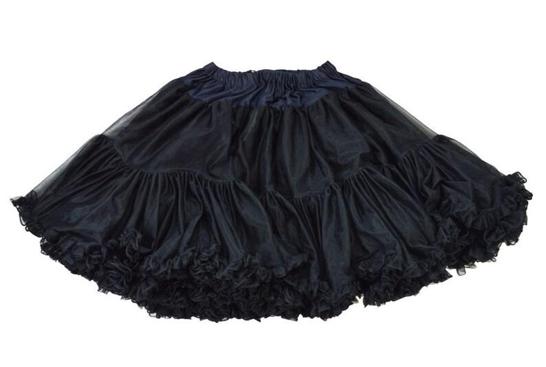 GOTHIC Vintage Black Ruffle PETTICOAT Full Circle Swishy Crinoline Square Dance SKIRT Dominatrix Fetish Cosplay Sissy Halloween Costume