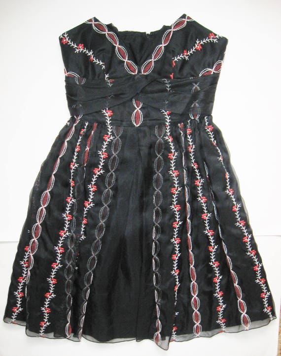 ANNA SUI Vintage Designer Red & White EMBROIDERY S