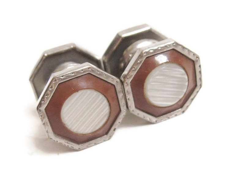 DECO Antique 1920s Silver Rhodium Brown CELLULOID Etched Mother of Pearl InlaySnap Cuff Links Edwardian Nouveau Downton Gatsby Era