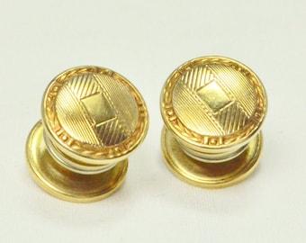 DECO Antique 1920s Gold NOUVEAU Repousse Pitman & Keeler Push Button Snap Cuff Links CUFFLINKS Downton Edwardian Gatsby Fashion Jewelry