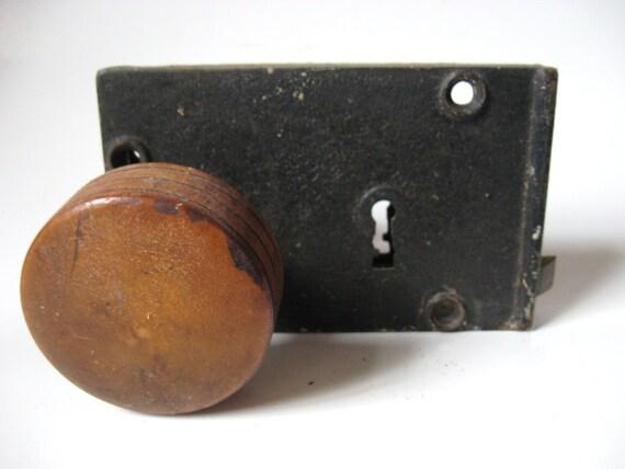 image 0 - Antique 1800s Federalist Metal Mortise Door Lock Wood & Brass Etsy