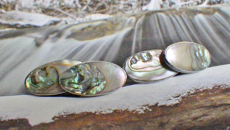 VINTAGE Sterling Silver MOTHER of PEARL Abalone Shell French Double Side Link CUFFLINKs Edwardian Downton Cuff Links Jewelry