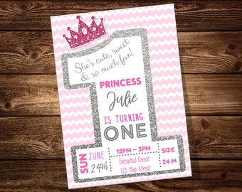 Princess 1st Birthday Party Invitation ***DIGITAL FILE ONLY***
