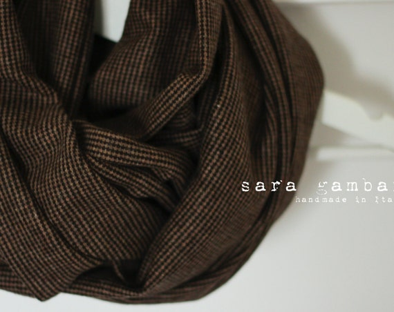 BEIGE INFINITY SCARF. Dandy man scarf. Brown chunky scarf. Houndstooth woolen scarf. Beige circle scarf. Woman scarf. Christmas gift idea
