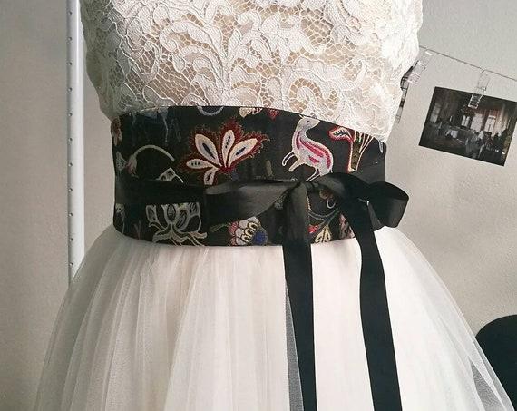 REVERSIBLE OBI BELT, wrap around belt, black waist belt, gift for women, obi wrap sash, ribbon belt