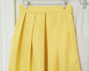 SAMPLE SALE, pleated yellow skirt, bridesmaid pleated skirt with pockets, yellow prom skirt