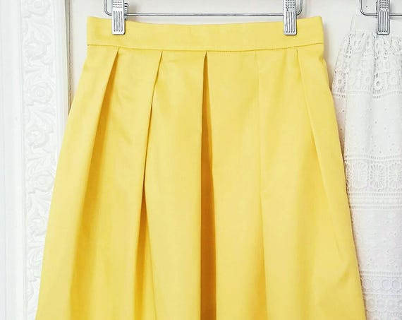 PLEATED YELLOW SKIRT, bridesmaid pleated skirt with pockets, yellow prom skirt, cotton skirt, skirt for summer